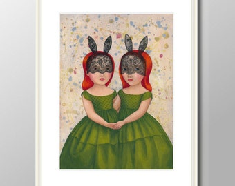 Twins - print from original acrylic painting, A4 (297 x 210mm), (11.7 x 8.3 in)