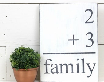 Family Flashcard Addition Sign - Framed Wooden Sign Wood Sign Family Addition Sign