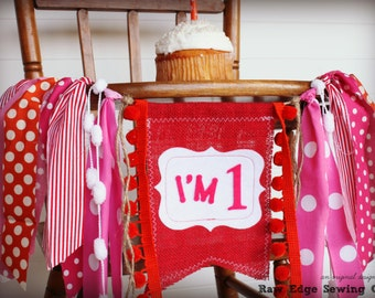 ELMO GIRL Birthday High Chair Highchair Banner Party Photo Prop Bunting Backdrop Red Orange Sesame Street One First Fabric Custom Twins