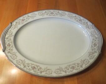 """Noritake """"WestBrook"""" Platter, 16 inch Noritake Platter, Noritake Oval Platter, Noritake China, Serving Platter, Serving Plate, Serving Dish,"""