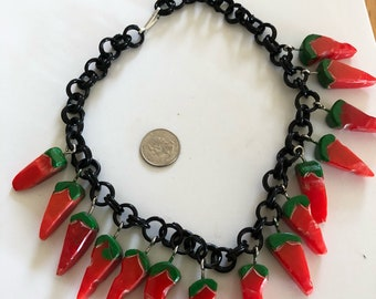 Artisan bakelite chili pepper necklace