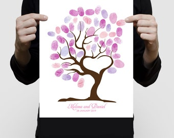 custom fingerprint guest book tree of love printed for wedding or baby shower - love heart shaped, unique alternative keepsake artwork art