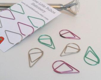 Purple Teardrop Paperclip Set of Six
