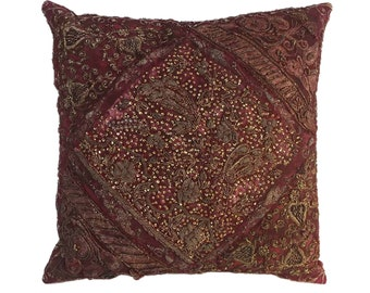 Vintage Exotic Red Beaded Pillow