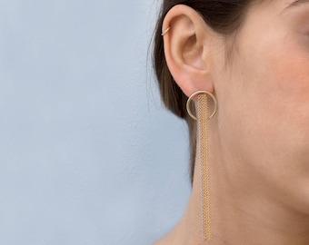 Gold Dangle Earrings, 14K Gold Earrings, Gold Earrings, Long Dangle Earrings, Chain Dangle Earrings, Gold Chain Earring, Women Gold Jewelry