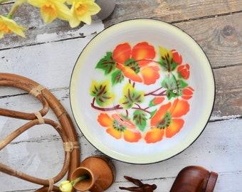Large vintage enamel bowl with floral pattern - vintage enamel bowl, large vintage bowl, zero waste, large bowl, fruit bowl, serving bowl