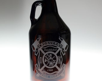 Fire Dept Custom HomeBrew growler using your city's station info.fathers day gift,custom pint,engraved pint, custom Beer Glass, firefighter