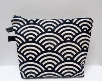 /Pochette waves printed Japanese fabric makeup bag