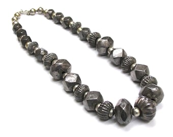 "Antique Sri Lanka Necklace, Old Ceylon Necklace, Sri Lankan Silver Lac Beads Necklace, Antique Indian Necklace, 57 cm (22 1/2""), RARE"