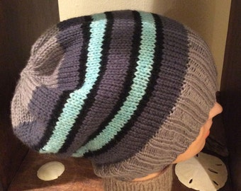 Striped Slouch Hat Slouch Beanie Slouchy Hat Striped Slouch Men's Winter Hat Striped Hat