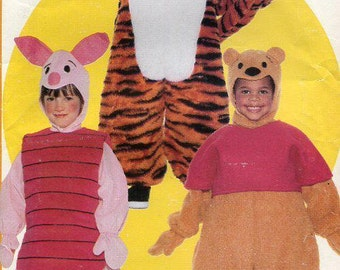Free Us Ship Sewing Pattern Butterick 5172 Child's Costume Winnie The Pooh Bear, Tigger, Piglet Uncut Size 1 2 3 4 5 6 Uncut Halloween