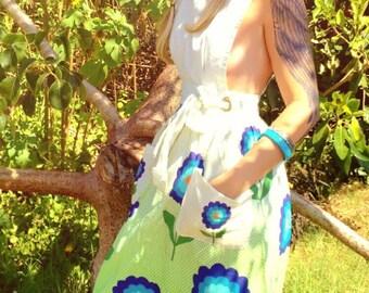 Vintage Apron Dress Design House 60's Maxi Dress Daisies Polka Dots Cotton Hippie Bohemian Festival Wear