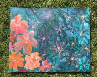 An original painting  of colourful flowers
