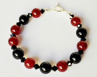 Red Pearl Bracelet with Black Handmade Beaded Jewelry with Swarovski Pearls and Crystals