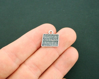 4 Colorado State Charms Antique Silver Tone 2 Sided - SC6333