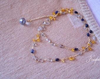 "Yellow Citrine Necklace - November birthstone- Green Amethyst - February birthstone - Blue Iolite ""New York"""