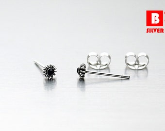 925 Sterling Silver Oxidized Earrings, Tiny Black Crystal Earrings, Stud Earrings, Size 3 mm (Code : EG62D)