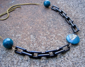 Eco-Friendly Statement Necklace - Serendipity - Recycled Vintage Dark Goldtone Metal Mesh and Black Plastic Chain with Peacock Blue Beads