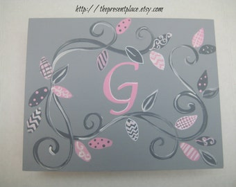 large pink,gray keepsake box,branches,patterned leaves,polka dots,personalized,customized,girls memory box,kids box children's box, baby box