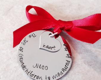 SALE The Joy of Grandchildren is measured in the heart hand stamped ornament grandparent ornament first christmas ornament personalzied