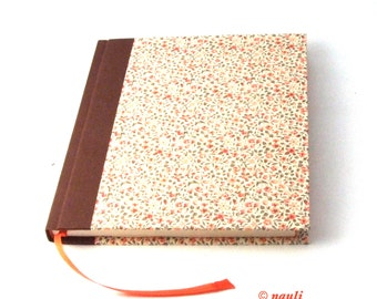 floral Diary, square Notebook, Poetry Album apricot flowers brown spine