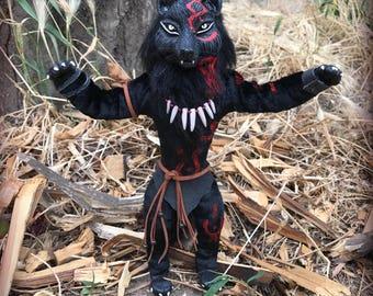 Black Werewolf. Direwolf. Loup-garou. Rougarou. Totem wolf. Clay fur toy. Stuffed animal doll.