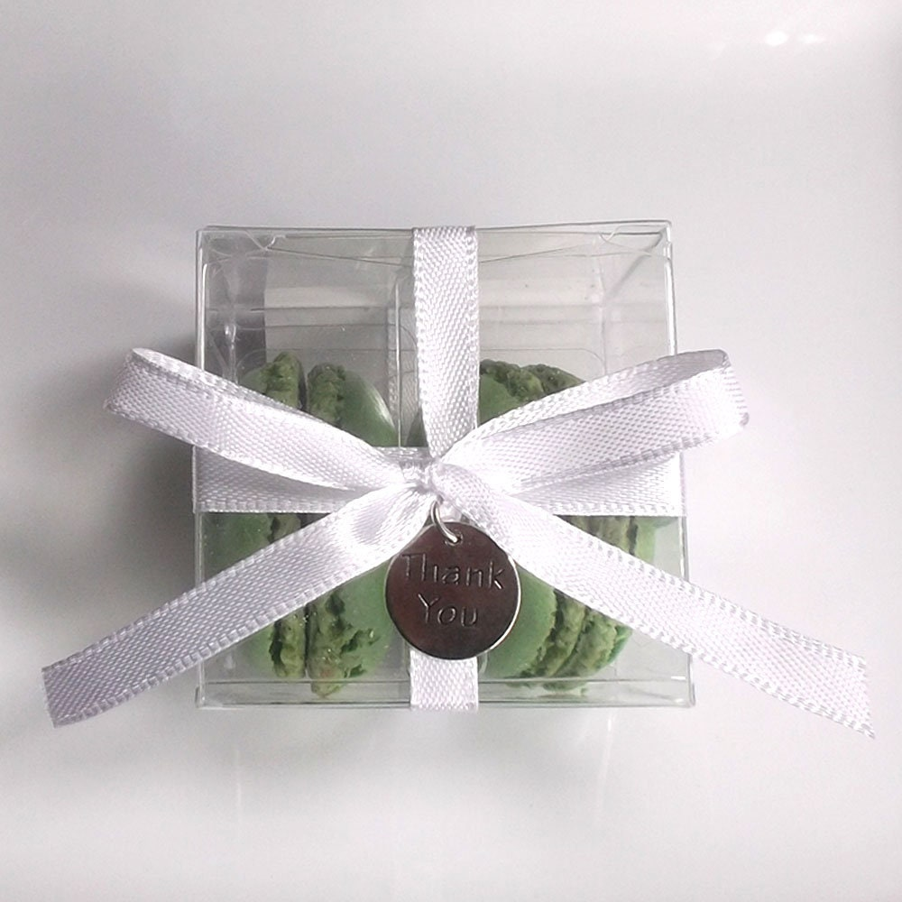 Macaron Boxes Wedding Favor Boxes with Ribbon & Charms
