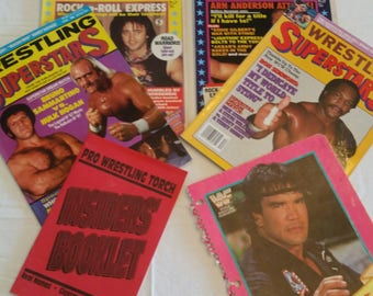 vintage pro wrestling magazines - wrestling allstars & superstars torch booklet w/ real names and glossary terms - writing notebook cover Z1