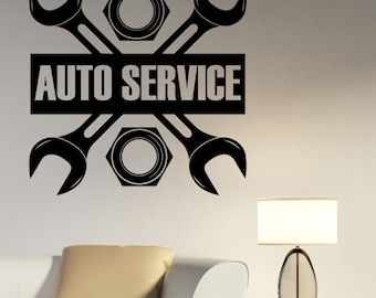 Auto Service Logo Wall Decal Custom Vinyl Sticker Repair Car Station Sign Garage Decorations Window Removable Art Decor aus3