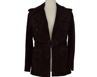 70s Mens Suede Jacket, 1970s Dark Brown Suede Jacket, Vintage Leather Jacket, Brown Suede Coat, Spread Lapel, Belted Jacket, Size Medium