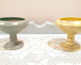 Harvest Gold Art Pottery Planter By Inarco Co. - Gold/Green/Mint Green/Yellow