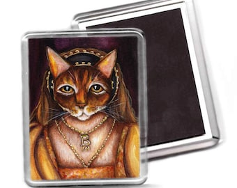 Anne Boleyn Magnet, Abyssinian Cat Wearing Tudor Costume, Fridge Magnet