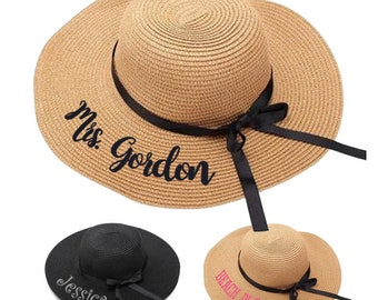 Embroidered Personalized Floppy Sun Hat, Personalized Floppy Hat, Summer Hats, Beach Hat, Embroidered Beach Hats, Honeymoon Beach Hat,