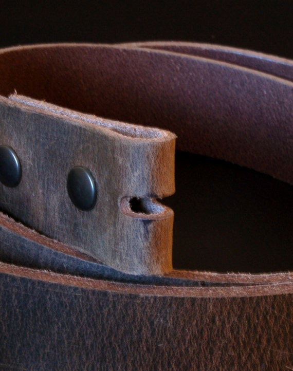 "Interchangeable Leather Snap Belt ~ Fawn Brown 1-1/2"" or 1-1/4"" Unisex Leather Belt ~ Made in Canada Custom Cut Made to Fit Your Waist Size"