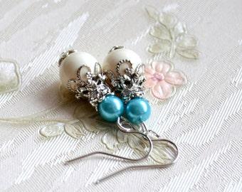 Light blue Bridesmaid earrings Swarovski jewelry with rhinestone Light blue Bridesmaid earrings gift set Light blue wedding jewelry