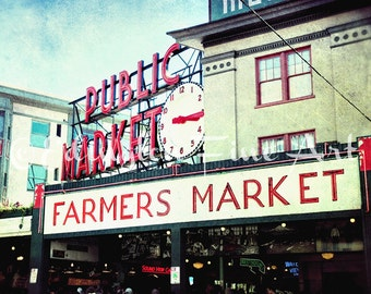 Pike Place Market Photo Seattle Photography Pike Place print Farmers Market Pike Place Wall Art Kitchen Decor Seattle Architectural Print