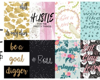 Planner Quote Boxes- GIRL BOSS, full box, happy planner, erin condren, matte, gloss,y weekly planner sticker kits