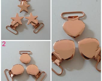 FREE SHIPPING 10pcs Rose Gold Brass Hue Suspender Clips Pacifier Clips