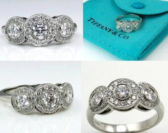 TIFFANY & Co Authentic CIRCLET Round Diamond ENGAGEMENT Wedding 3 Stone Halo Platinum Ring