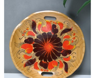70's boho mexican folk art painted wood wall art dish tray