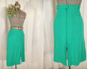 Vintage 1970s Skirt -  70s Wool Skirt, Green A Line High Waist Skirt With Pockets