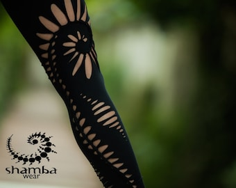 Spiral Braided Leggings with attached mini skirt - special leggings,braided,shredded,cuts,open,boho,hippie,tribal,festivals,burning man,yoga