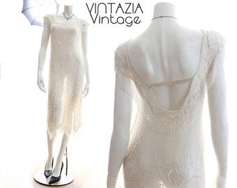 Vtg 80s Fringe Beaded Gatsby Wedding Dress/Flapper/Sheer