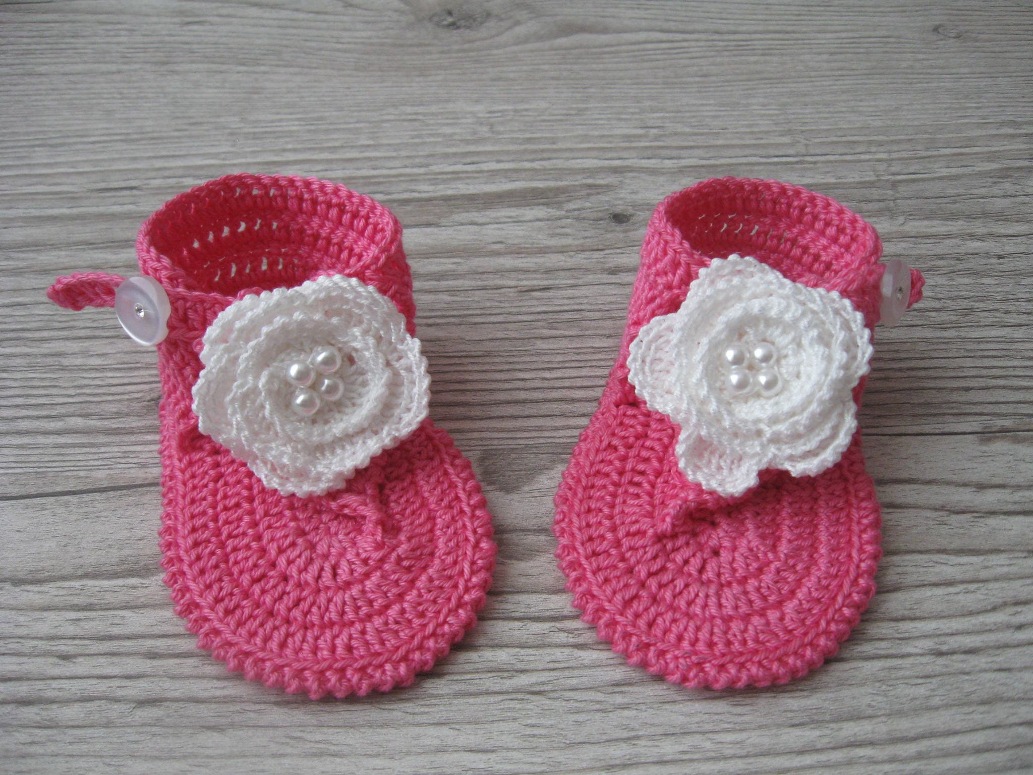 Häkeln Baby Mädchen Rosa Sommersandalen barfuß flip Flops