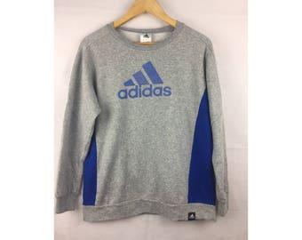 ADIDAS LONG Sleeve Sweatshirt / Pull Over Small Size Big Logo Infront Sportwear