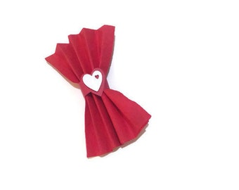 Napkin Rings Heart Shaped Party Decor Red Set of 10