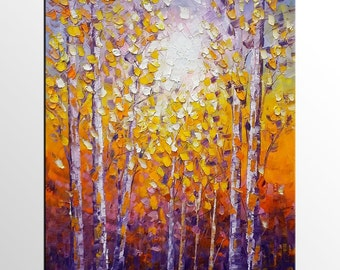 Original Painting, Landscape Painting, Oil Painting Canvas, Tree Canvas Art, Abstract Art, Large Wall Art, Abstract Wall Art, Modern Art