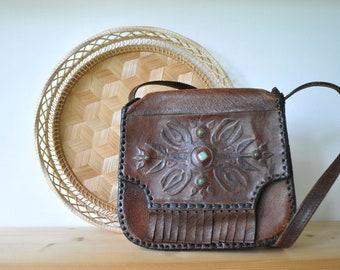 Vintage hand toolled leather shoulde bag, leather purse, festival bag, bohemian bag, dark brown leather bag, CAS156