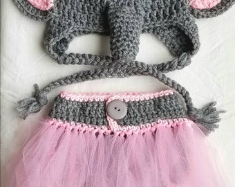 Elephant hat and diaper cover with tutu