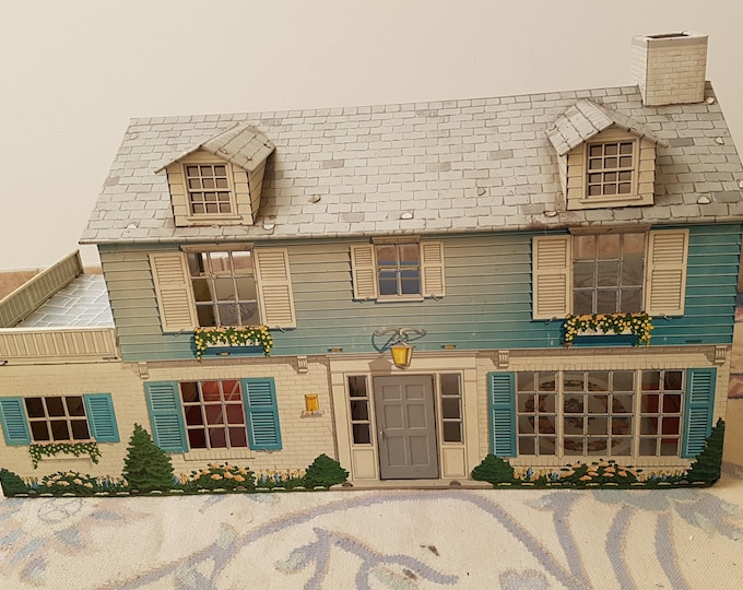 Rare Early 1950's Marx Tin Lithographed Two Story Dollhouse Mansion